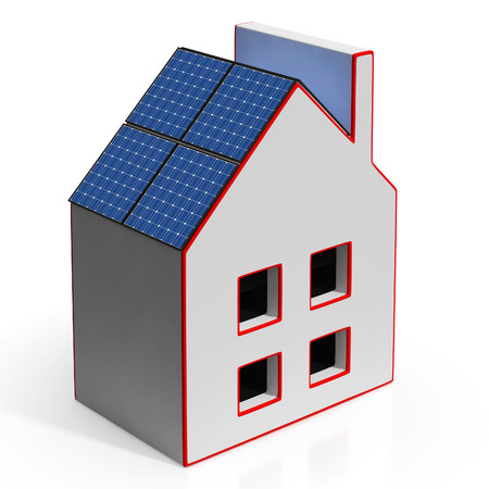 solarpanel: House With Solar Panels Shows Renewable Energy Or Power Stock Photo