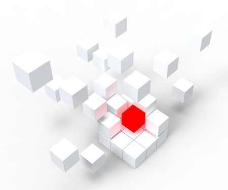 distinctness: Unique Red Block Showing Standing Out And Different