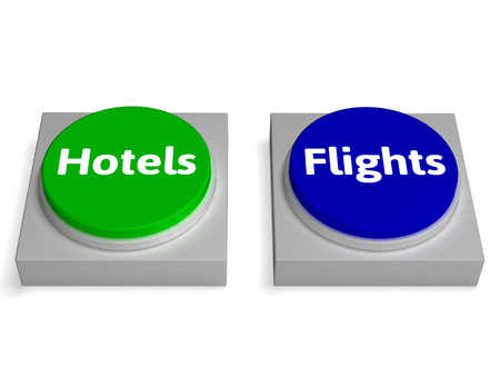 accomodation: Hotels Flights Buttons Showing Accomodation Or Flight