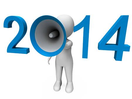 loud hailer: Two Thousand Fourteen Loud Hailer Showing Year 2014 Stock Photo