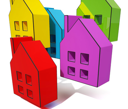House Symbols Shows Houses Or Homes For Sale Stock Photo - 22640647