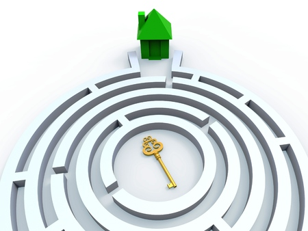 housing search: Key To House In Maze Shows Property Or Home Search Stock Photo