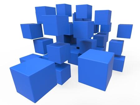 disharmony: Exploded Blocks Showing Unorganized Puzzle And Explosion
