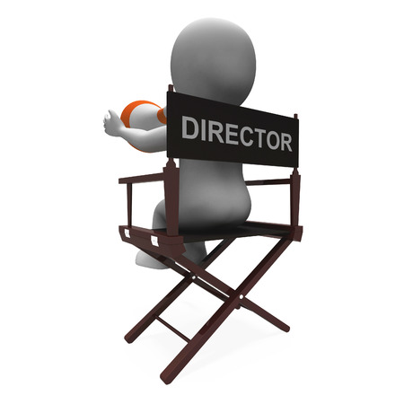 filmmaker: Director Character Showing Hollywood Movie Director Or Filmmaker