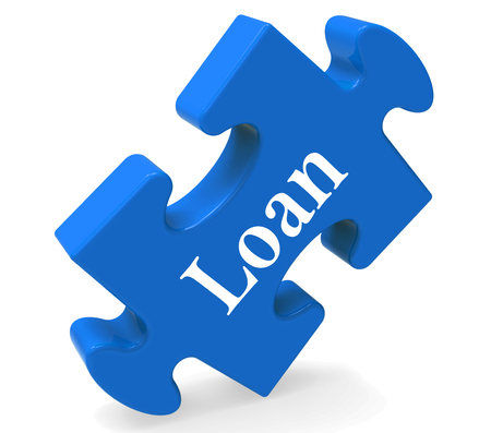 Loan Puzzle Showing Bank Lending Mortgage Or Loaning Stock Photo - 22640656
