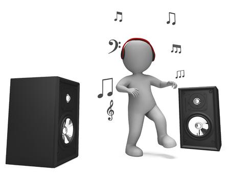 loud speakers: Listening Dancing Music Character Showing Loud Speakers And Songs Stock Photo