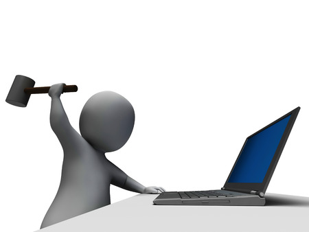 Hammer Hitting Computer Showing Angry And Frustrated With Laptop Stock Photo - 22688824