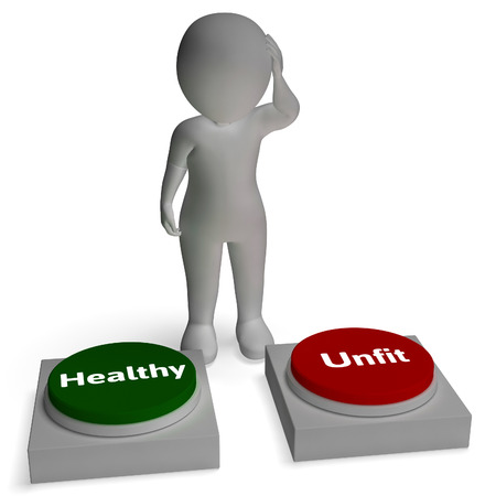 unfit: Healthy Unfit Buttons Shows Health Fitness Or Sickness