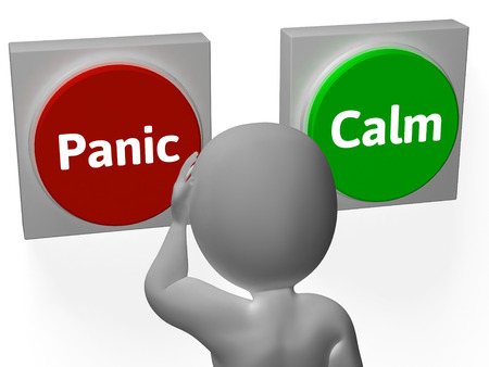 worrying: Panic Calm Buttons Showing Worrying Or Tranquility Stock Photo