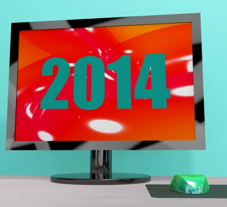 fourteen: Two Thousand And Fourteen On Monitor Showing Year 2014 Stock Photo