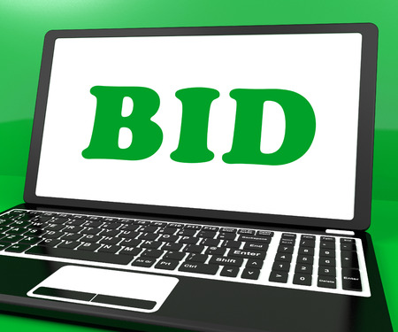 auction win: Bid On Laptop Showing Bidder Bidding Or Auction Online Stock Photo