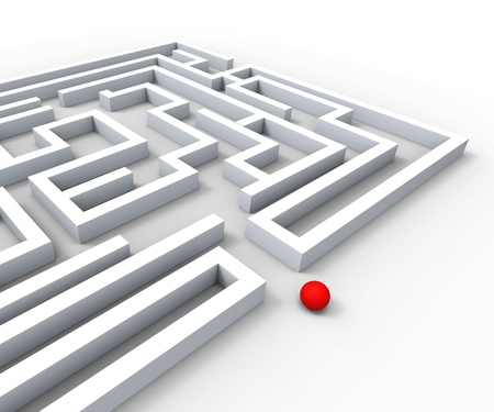 complexity: Complicated Maze Shows Complexity Obstacles And Challenges Stock Photo
