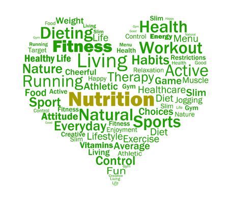 nutrients: Nutrition Heart Showing Healthy Food Nutrients And Nutritional
