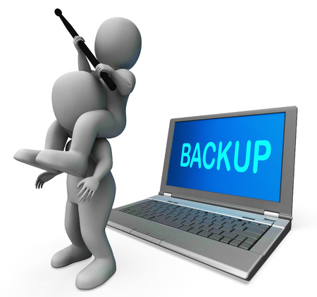 data archiving: Backup Characters Laptop Showing Data Archiving Archive Back Up And Storing Stock Photo