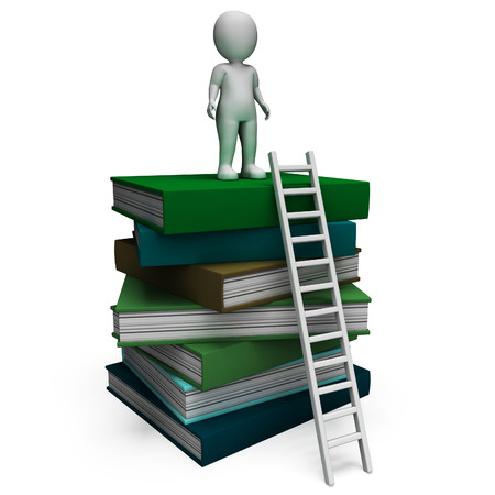 educated: Student On Books Shows Educated And Knowledge Stock Photo