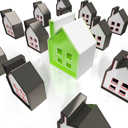 House Symbols Means Property Or Buildings For Sale Stock Photo - 22640693
