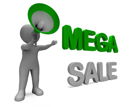 mega sale: Mega Sale Character Showing Reductions Savings Save Or Discounts