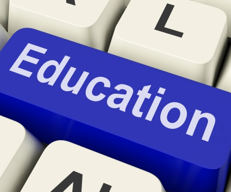 schooling: Education Key On Keyboard Meaning Teaching Schooling Or Training