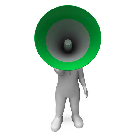 loud hailer: Loud Hailer Character Showing Broadcasting Explaining And Megaphone