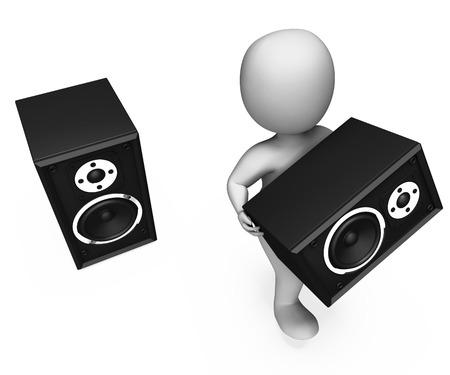 loud speakers: Loudspeakers Character Showing Loud Speakers Music Disco Or Party
