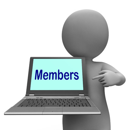 subscribing: Members Laptop Showing Member Register And Web Subscribing