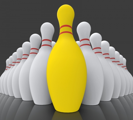 accomplishing: Vision Bowling Skittles Showing Achieving Or Winning Stock Photo