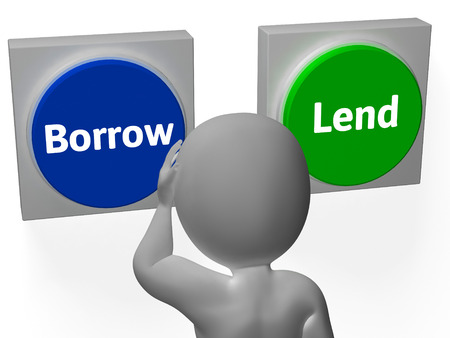 lend: Borrow Lend Buttons Showing Debt Or Credit Stock Photo