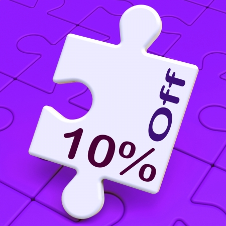 Ten Percent Off Puzzle Meaning Discounts Or Sale photo