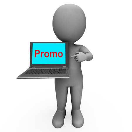 discounting: Promo Character Computer Showing Promotion Discounting And Reductions Stock Photo