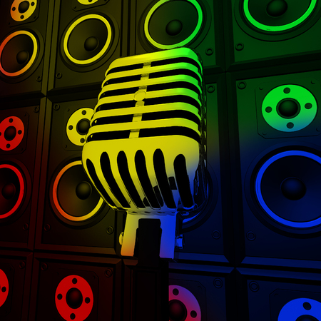 loud speakers: Microphone And Loud Speakers Showing Performance Concert Or Entertainment