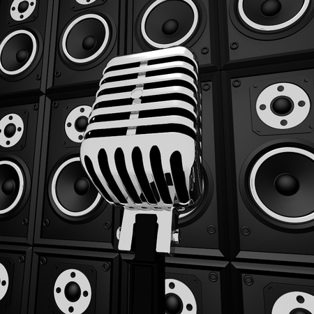 loud speakers: Microphone And Loud Speakers Showing Music Industry Concert Or Entertainment