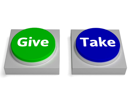 compromising: Give Take Buttons Showing Giving Or Taking