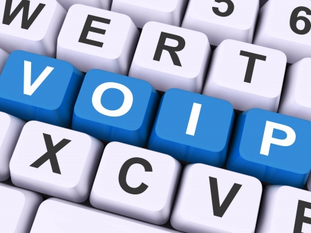 ip: Voip Keys Showing Voice Over Internet Protocol Or Ip Telephony