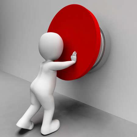 pushing the button: Hombre que empuja el bot�n Muestra Control o p�nico