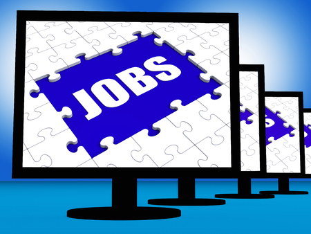 jobless: Jobs On Monitors Showing Jobless Employment Or Hiring Online