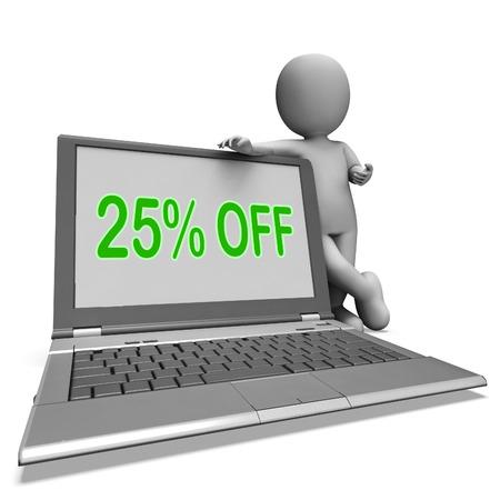 twenty five: Veinticinco por ciento de descuento en monitor Significado deducci�n o venta en l�nea