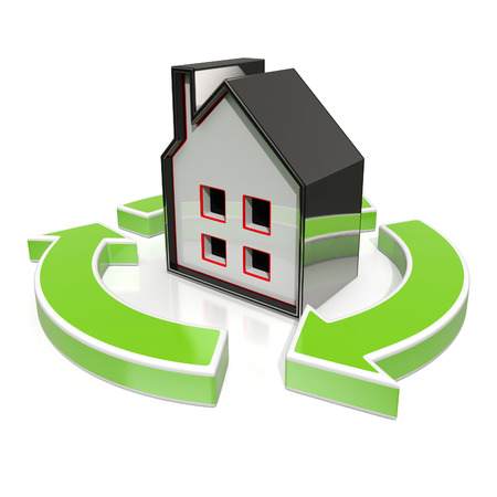 House Icon Shows Home Or Building Flipping Stock Photo - 22640742