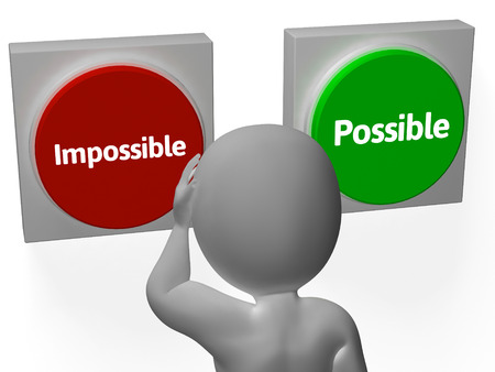 unachievable: Impossible Possible Buttons Showing Positivity Or Adversity Stock Photo