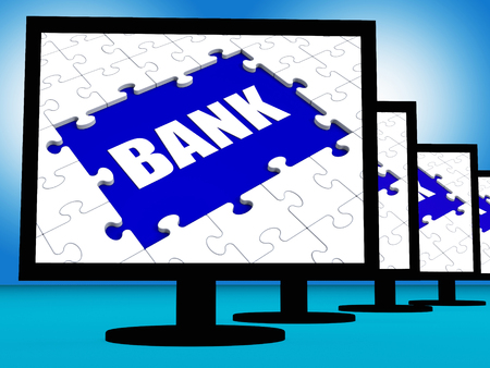 internet banking: Bank On Monitors Showing Online Or Electronic Internet Banking Stock Photo