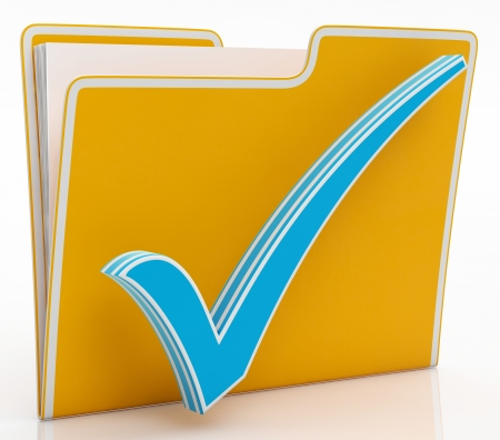 File With Tick Showing Organising Documents Filing And Paperwork Stock Photo
