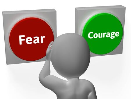 braveness: Fear Courage Buttons Showing Scary Or Unafraid