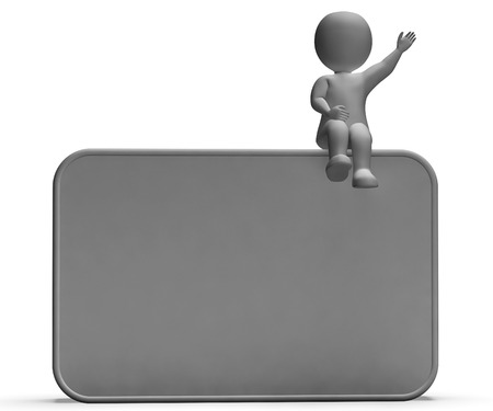 Character On Copyboard Blank Board Allows Message Or Presentation photo