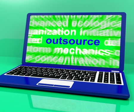 freelancing: Outsource Laptop Showing Subcontracting Outsourcing And Freelance