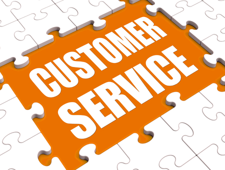 inquiries: Customer Service Puzzle Showing Consumer Support Or Helpdesk