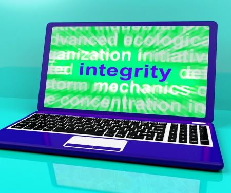 uprightness: Integrity Laptop Showing Honesty Morality And Trust Stock Photo