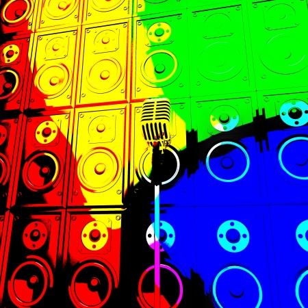 loud speakers: Microphone And Loud Speakers Showing Live Music Performing Or Entertaining