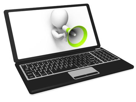 an announcement message: Laptop Megaphone Showing Internet Announcement Message Or Information
