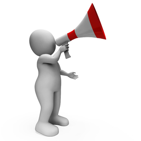 announcing: Megaphone Character Showing Announcements Proclaiming And Announcing Stock Photo