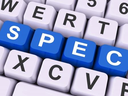 stipulation: Spec Keys Showing Specifications Blueprint Or Design