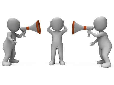 loud hailer: Loud Hailer Characters Showing Megaphone Attention Explaining And Bullying Stock Photo